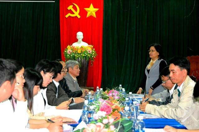 Đồng chí Lê Thị Kim Đơn - Ủy viên Ban Thường vụ Tỉnh ủy, Trưởng Ban Tuyên giáo Tỉnh ủy phát biểu tại buổi làm việc