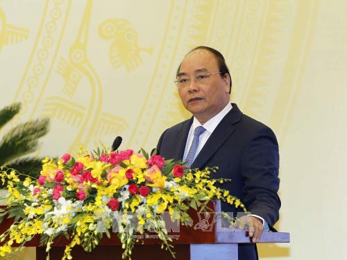 Thủ tướng Nguyễn Xuân Phúc phát biểu kết luận tại Hội nghị. Ảnh: TTXVN