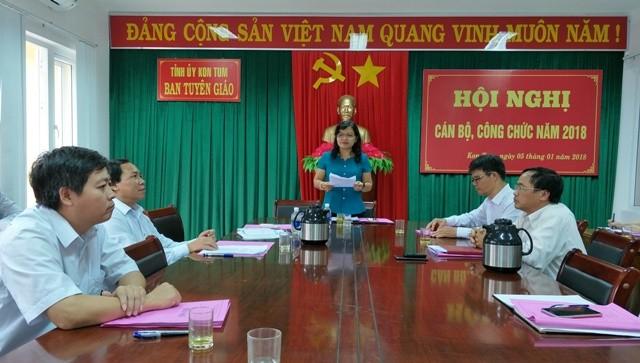 Trưởng Ban Tuyên giáo Tỉnh ủy Lê Thị Kim Đơn phát biểu kết luận Hội nghị