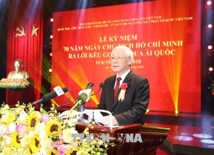 Tổng Bí thư Nguyễn Phú Trọng phát biểu chỉ đạo tại buổi lễ. Ảnh: Trí Dũng/TTXVN