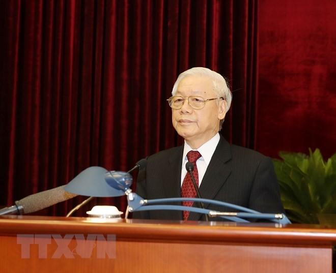 Tổng Bí thư Nguyễn Phú Trọng phát biểu bế mạc Hội nghị. Ảnh: TTXVN