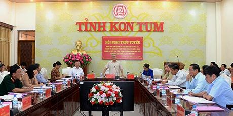 Đồng chí Bí thư Tỉnh ủy Nguyễn Văn Hùng phát biểu chỉ đạo tại hội nghị. Ảnh: MT