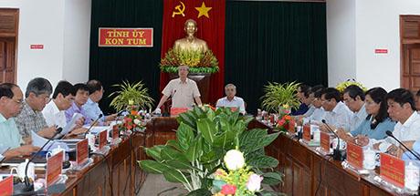 Đ/c Trần Quốc Vượng - Ủy viên Bộ Chính trị, Thường trực Ban Bí thư Trung ương Đảng phát biểu tại buổi làm việc. Ảnh: MT