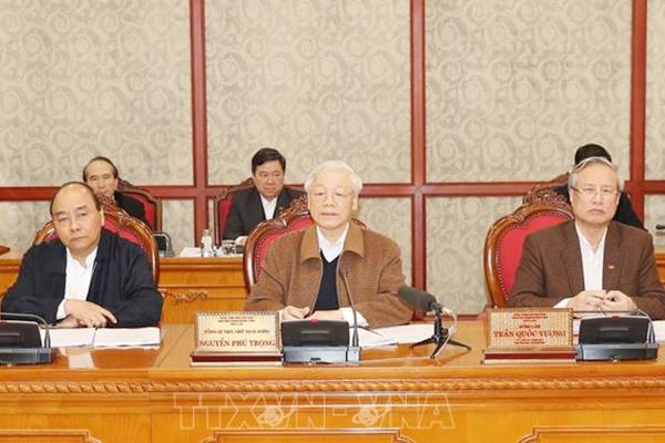 Tổng Bí thư, Chủ tịch nước Nguyễn Phú Trọng chủ trì cuộc họp của Bộ Chính trị về công tác phòng, chống dịch Covid-19 ngày 20/3. Ảnh: TTXVN