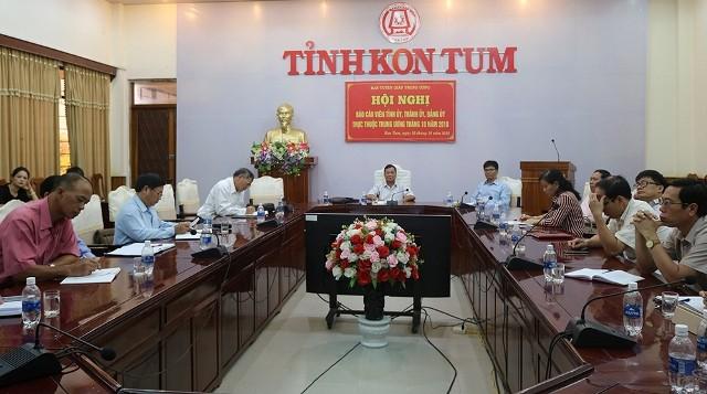 Quang cảnh Hội nghị BCV tháng 10-2018, điểm cầu tỉnh Kon Tum