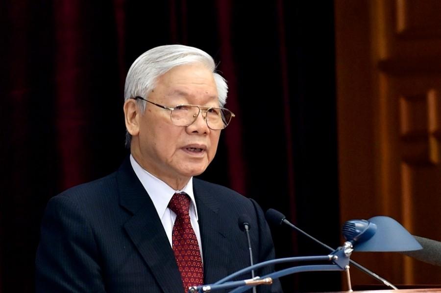 Tổng Bí thư Nguyễn Phú Trọng phát biểu khai mạc Hội nghị. (Ảnh: HH)