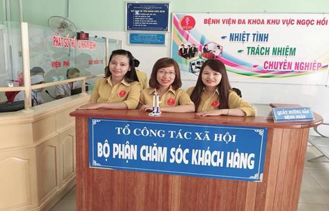 Tổ Công tác xã hội (Bộ phận Chăm sóc khách hàng) tại Bệnh viện Đa khoa khu vực Ngọc Hồi (nguồn ảnh: syt.kontum.gov.vn)