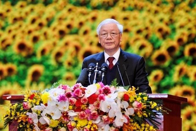 Tổng Bí thư, Chủ tịch nước Nguyễn Phú Trọng đọc diễn văn khai mạc lễ kỷ niệm.