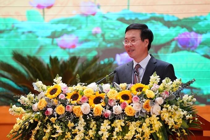 Đồng chí Võ Văn Thưởng, Ủy viên Bộ Chính trị, Bí thư Trung ương Đảng, Trưởng ban Tuyên giáo Trung ương phát biểu chỉ đạo tại Hội nghị.