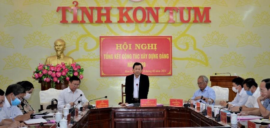 Đồng chí Bí thư Tỉnh ủy Dương Văn Trang phát biểu tại Hội nghị. Ảnh: MT