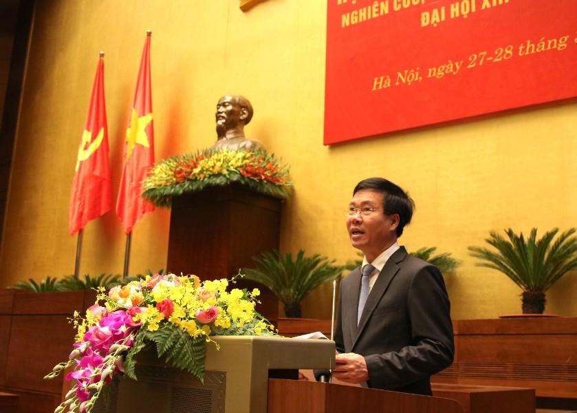 Đồng chí Võ Văn Thưởng, Ủy viên Bộ Chính trị, Thường trực Ban Bí thư phát biểu chỉ đạo tại Hội nghị. (Ảnh: TA)